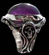 Sterling Silver Art Nouveau Skull Ring With Amethyst Lady Morte Ring - All Sizes