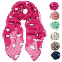 Women Lady Penguin Print Scarf Winter Neck Warm Soft Stole Wrap Shawl Pashmina