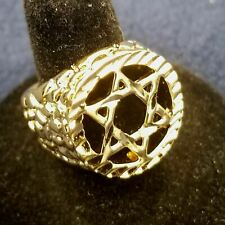 SIZE 11  MENS 14KT GOLD EP  JEWISH STAR CUT OUT BLING NUGGET STYLE RING