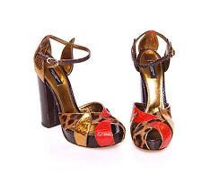 NWT $3800 DOLCE & GABBANA Crocodile Leather Leopard Pumps Shoes EU39 / US8.5