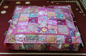 """Indian square 35"""" Vintage Pink cotton patchwork heavy duty ottoman puff cover"""