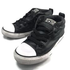 CONVERSE Leather Black Mid Rise Shoes Junior Youth 3 Sneakers