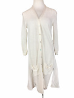 Soft Surroundings Size S Duster Cardigan Knit White Lagenlook Rayon Linen Cotton