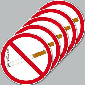 5 Aufkleber 10cm rund Sticker Rauchen Verboten Nichtraucher Rauchverbot Schild