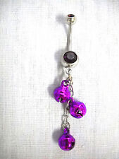 NEW BELLY DANCER 3 PURPLE DANGLING JINGLE BELLS CHAIN DBL PURPLE CZ BELLY RING
