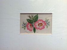 FLEURS ROSE AQUARELLE EN COULEUR 1855 ca. ANGLAIS original à la main
