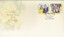 2014 Royal Visit by William, Catherine & Prince George (Gummed Stamps) Fdc