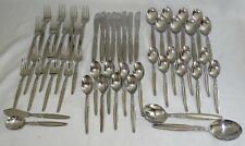 Japan Stainless Steel Flatware 52pc Set Stylized Leaf Design