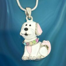 Made With Swarovski Crystal Dog Puppy Pet Pink White Pendant Necklace