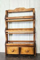 Vintage Wood Hanging Spice Herb Rack 3 Tier Shelves Scalloped Edge With Drawers
