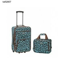 Carry On Luggage Set 2 Pc Upright Suit Case Tote Bag Animal Print Teal Blue Girl