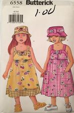 Butterick 6558 Pattern Toddlers Childrens Adorable Sundress & Hat Size 4-5-6