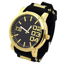 Mens Black Silicone Band Gold Metal Sport Hip Hop Fashion Quartz 0123 Watches
