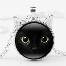 Black Cat Face Time Gemstone Necklace Cat Ear Pendant Sweater Chain Necklace WB