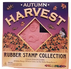 NOS Inkadinkado 10 Rubber Stamp Collection Autumn Harvest Vintage ink pad NEW