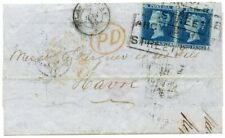 1854 2d blue Perf 16 pair-cover to France from Glasgow Argyll Street Scots Local