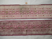 * Vintage Antique Border Sari Trim Lace  2 ft Z1645 Gold Zari Wine #ABYBL