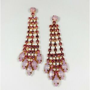 Gold Chandelier Earrings With Light Pink and Opal Pink Crystals
