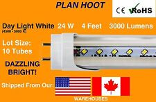 T8 G13 4FT 24W CLEAR LENS 4500-5000K FLUORESCENT LED REPLACEMENT TUBE LOT OF 10
