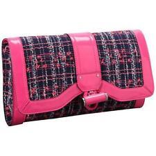 New $275 Milly Hot Pink Tweed Chain Clutch Handbag Purse Kiera