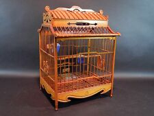 Hand Made Asian Wood Bird Cage with Porcelain Feeders 13 inches