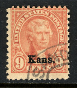 SCOTT 667 1929 9 CENT JEFFERSON KANSAS OVERPRINT ISSUE USED VG!