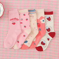 Women Girls Mid Tube Cotton Socks Sport Casual Cute Funny Fruits Crew Socks