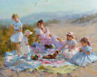 Afternoon at the seaside picnic oil painting Art Giclee Printed on Canvas L1928