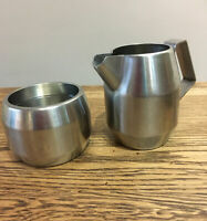 Vintage Stainless Steel Milk Jug & Sugar Bowl. Thomas M. Nutbrown Foreign