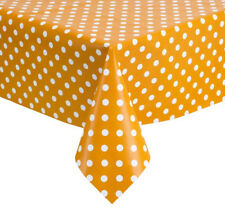 PVC TABLE CLOTH POLKA MUSTARD WHITE YELLOW DOTS SPOTS VINYL WIPE ABLE PROTECTOR