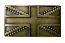 "FL103-UK- Steampunk Union Jack British Flag Brass Plated Buckle Fits 1.5"" Belt"