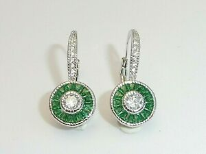 Ladies Art Deco Halo Style 925 Sterling Silver Emerald & White Sapphire Earrings