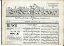 1921 Newspaper, The Fillmore Advertiser, Fillmore Music House, Cincinnati, Ohio