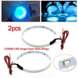 1Pair Car 15-SMD LED Demon Angel Eye Halo Rings Kit For Headlight Projector Lens