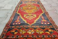 "Antique 1940-1950s Tent- Woven 1'3''x3'7""' Natural Dyes Wool Pile Tribal Rug"