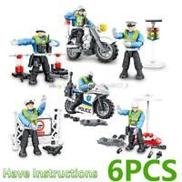 Traffic Police Military Moto Cop City Building Bricks Fit Lego Minifigures Mega