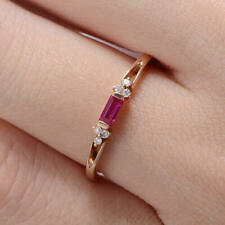Baguette Cut Pink Ruby Minimalist Engagement Ring 14k SOLID  Rose Gold