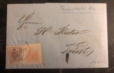 1858 Tanvald Austria Letter Cover To Trieste Italy 3 6 Kr Imperforate Stamps