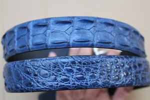"Blue Genuine Alligator Crocodile Hornback Leather Skin Men's Belt -W 1.5"""