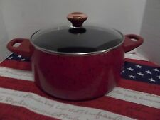 "PAULA DEEN PAN~6 QUART COVERED STOCK POT ~ ""RED"" SPECKLE~NEW"