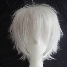 Women Mens Male Short Cosplay Hair Wig Fluffy Straight Wig Blue Blonde Orange Fb