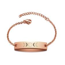 Rose Gold Women Bracelet Charm Lunar Moon Phase Trible Goddess  Stainless Steel