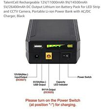 TalentCell Rechargeable 12V/11000mAh 9V/14500mAh 5V/26400mAh DC Output Lithium i