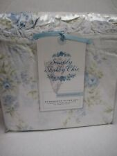 New Simply Shabby Chic BRITISH ROSE Blue Floral Ruffle Duvet Set - Full/Queen