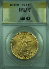1908 St. Gaudens Double Eagle $20 Gold Coin ANACS MS-63 No Motto