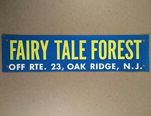 Oak Ridge NJ: 1960s FAIRY TALE FOREST Souvenir Wire-On Bumper Sign Placard