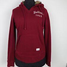 Hollister Womens Hoodie Long Sleeve Jacket Pockets Fur Hood Burgundy Red Small