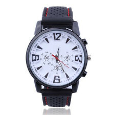 Pilot Aviator Army Style Silicone Men Outdoor Sport Wrist Watch White Dial HY