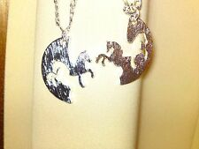 """2 silvertone Best Friend horse/pony necklaces that click together on 20"""" chains."""