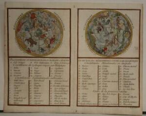 1786 DE LA PORTE RARE ANTIQUE COPPER ENGRAVED CELESTIAL CHART IN TWO HEMISPHERES